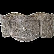 Wide Vintage Portuguese Sterling Silver Filigree Panel Bracelet