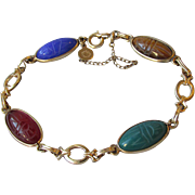 "1960's Vintage Gold Filled Semi Precious Gemstone Oval Scarab Bracelet, 7 1/2"" Long ..."