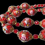Spectacular BIG Red Venetian Wedding Cake Art Glass Bead Necklace, Fine