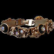 Vintage Black Enamel Fleur de Lis & Rhinestone Signed KRAMER New York Bracelet