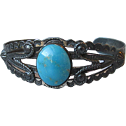 Fred Harvey Sterling Turquoise Stamped Cuff Bracelet, Black Patina