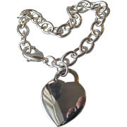 "8 1/4"" Long Heavy Sterling Silver Rope Bracelet with Dangling Heart Charm"