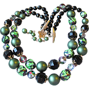 Vintage Vendome Double Strand Green Faux Pearl & Black FOIL Glass Bead Necklace