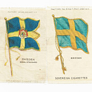 1906 Sweden National Flag & Swedish Royal Standard - 2 Scandinavia National Flags - Vintage Early 1900s Sovereign Cigarette Silks - American Tobacco Company Advertising Premium