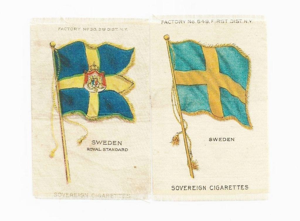 1906 Sweden National Flag & Swedish Royal Standard - 2 Scandinavia National Flags - Vintage Early 1900s Sovereign Cigarette Silks - American Tobacco Company Advertising Premium