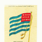 SALE 1875- 1912 El Salvador National Flag - Vintage Early 1900's Sovereign Cigarette Silk - Am
