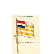 1854 -1902 Colonial South Africa - Orange Free State Flag - Vintage Early 1900's Egyptienne Cigarette Silk - American Tobacco Company Advertising Premium