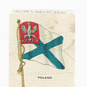1820-1917 Kingdom of Poland National Flag - Vintage Early 1900's Sovereign Cigarette Silk - Am