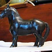 SALE PENDING c1960 My Pet Cast Iron Horse Pony - Vintage Coin Savings Bank