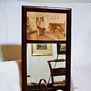 SALE PENDING 1917 Thompson Art Company Oak-Framed Mirror - Fred Thompson Photograph - Hand-Col