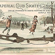 SOLD Rare 1870s Ice Skating Advertising Trade Card - Victorian Winter Sports - Imperial Club I