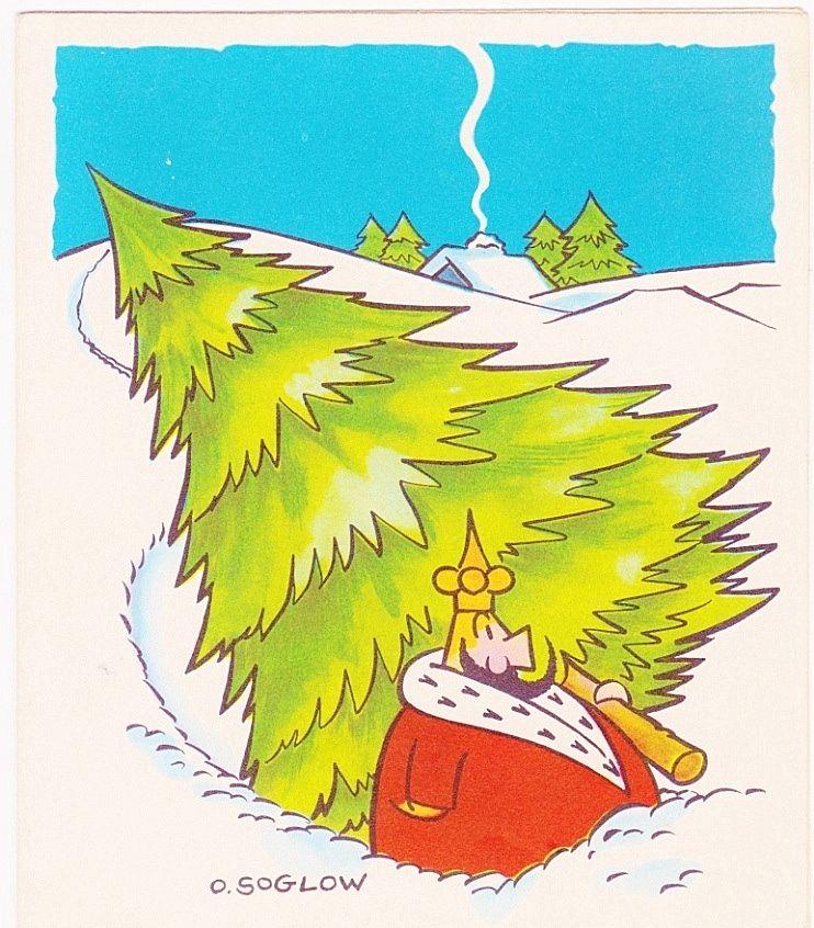 The Little King Cartoon Comic Strip Character - Vintage 1951 Christmas Cartoon Greeting Card - American Cartoonist Otto Soglow - Unused