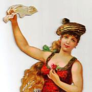 SALE Large Vintage Victorian Chromolithograph Album Scrap - Irish, Gaelic or Gypsy Girl - ...