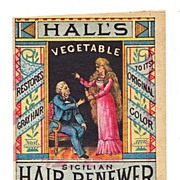 SALE c1870s Women's Hair Dye Patent Medicine Vintage Victorian Advertising Trade Card - Hall's