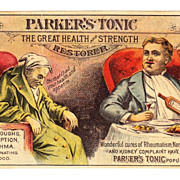 1880s Victorian Patent Medicine Advertising Trade Card - Parker's Tonic - Parker's Hair Balsam