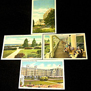 SALE 1937-1945 Swampscott MA New Ocean House Hotel Linen Postcards - Four Unused