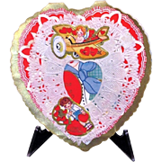 1920s Children's Paper Lace Cherub Vintage Flying Airplane Valentine - Blonde Girl - Embossed Cut-out Card - Heart-Shaped Appliqué Paper Lace