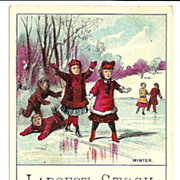 SALE c1880s Childrens Winter Sports Victorian Advertising Trade Card - Ice Pond - Adults Skati