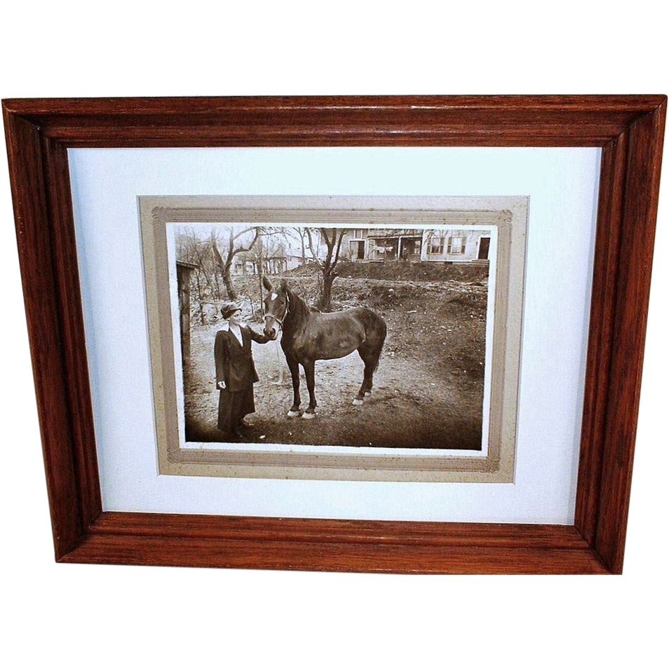 c1920 Family Buggy Horse Vintage Photograph - Young Modern Woman Holding the Reins