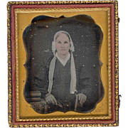 1850s Vintage Hand-tinted Daguerreotype - Elderly Woman in White Bonnet - Floral Design Leathe