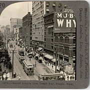 SALE c1920 Seattle WA Downtown Second Avenue Real Photo Stereo View - Vintage Model T Automobi