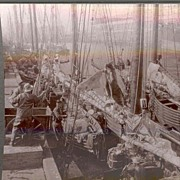 Rare c1920 Boston Fishing  Fleet  Real Photo Stereo View - Sailing Ship Unloading Catch at Bos