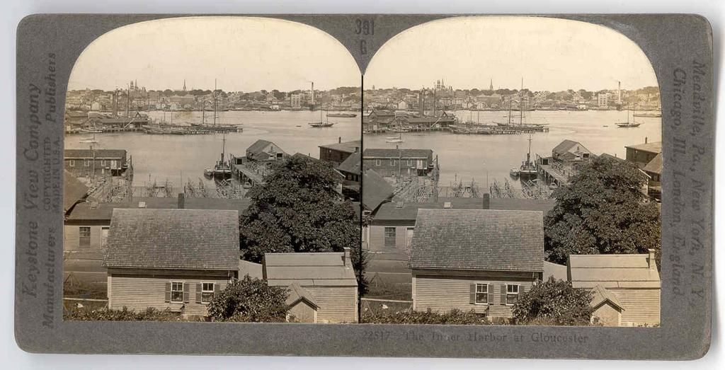 c1930s Gloucester Fishing Fleet Real Photo Stereo View - Gloucester Massachusetts Inner Harbor - Keystone Real Photo