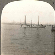 1926 New York City Harbor Stereo View - Flettner Rotor Ship Baden Baden at Anchor in New York