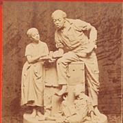 c1868 Real Photo Stereoview - 1866 John Rogers' African American Family Sculpture - Uncle Nedâ