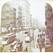 SALE 1894 New York City Manhattan SoHo Section Real Photo Stereo View - Lower Broadway and Pri