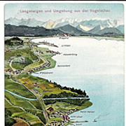 c1925 Germany Artist Map Postcard - Lake Constance - Bodensee - Vogelshau of Langenargen and Vicinity - Rhine River - Schloss Montfort - Austria Border - Austrian-Switzerland Alps