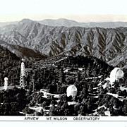 1930s Los Angeles California Mount Wilson RPPC Real Photo Postcard - Mount Wilson Observatory - Hooker Telescope - San Gabriel Mountains- Pasadena - Astronomers  George Hale and Edwin Hubble - Unused
