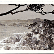 1930s Monterey Bay, California Real Photo Postcard – Monterey Bay Coastline – Spanish-Style Hacienda – Unused