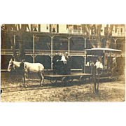 SALE c1910 Street Railway Real Photo Vintage Postcard -  Mule-Drawn Tandem Freight and Passeng