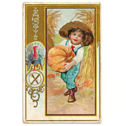 SALE 1924 Thanksgiving Holiday Greeting Vintage Postcard - Turkey - Harvest Pumpkins - Farmer