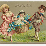 c1910 Victorian CHILDREN Vintage Postcard - CZECH-BOHEMIAN Slavic Language Greeting -  GERMAN-