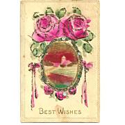 c1905 Pink ROSES German-Made Vintage Postcard - Hand-Colored Coraline Glass Bead Applique' Trim - Heavily Embossed Bas Relief - Rural Village Landscape