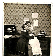1907 Comic Romantic Office Humor RPPC Real Photo Postcard - Business Boss and Secretary-Typist - Vintage Early Office Typewriter - Syosett New York Postmark