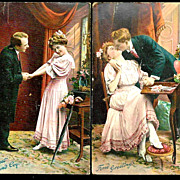 1908 Raphael Tuck Chromolithograph Humorous Romantic Courting Vintage Postcards (2) - Teenage