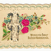 c1910 Red Roses Paper-Lace Christmas Greeting / Gift Vintage Card - Polish Language Greeting - Hand-Colored Roses with Mica Chip Trim