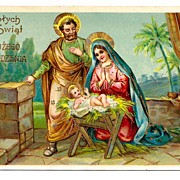 c1910 Religious Christmas Nativity Vintage Postcard - Baby Jesus - Virgin Mary -  Holy Family