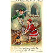 SALE 1909 CHRISTMAS / NEW YEAR Holiday Postcard - Winged Angel Boys Filling Bags with Silver .