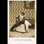 SOLD 1907 Comic Domestic Real Photo Vintage Postcard - Edwardian Seamstress Wife - Emergency M