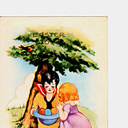 c1920 Whitney-Made Easter Greeting Postcard - Embossed Art Deco Children Chromolithograph - Boy & Girl - Easter Eggs in Blue Hat - Un-posted