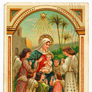c1910 Religious Christmas Nativity Postcard - Baby Jesus - Virgin Mary Surrounded by Child-Lik