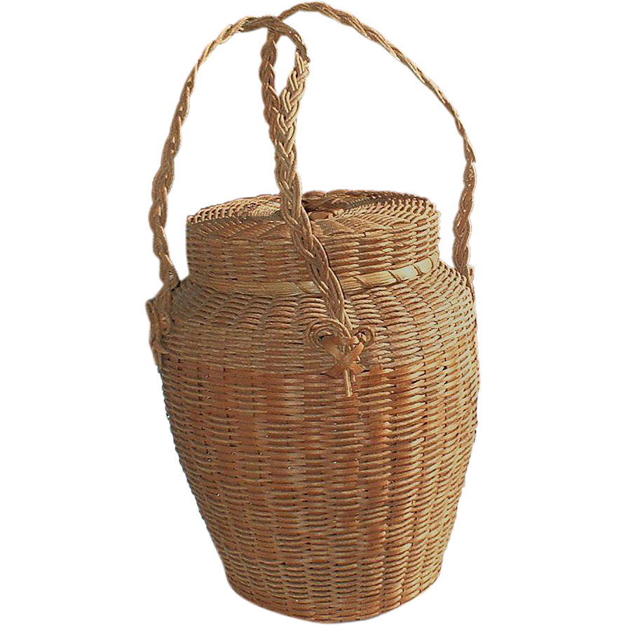 Iroquois Native American Indian Vintage Hand-Woven Knitting Yarn Basket