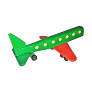 Wooden Jet-Liner Airplane Hand-Crafted Toy - Large Hand-Crafted Late 20th Century Vintage Passenger Aircraft - Wooden Wheels and Axles