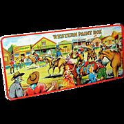 SALE PENDING 1950s Page London Western Paint Box - Cowboy American West Frontier Town Vintage