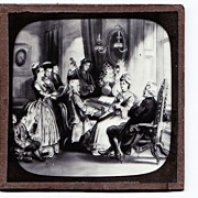 "SALE c1900 English Magic Lantern Slide - Scene From  ""The Vicar of Wakefield"" 18th C"