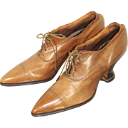 Deadstock Late Teens WWI Era Ladies' Glazed Honey Kid Oxford Shoes